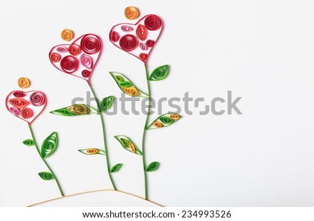 flowers made of paper quilling technique. Congratulations to the St. Valentine's Day or Mother's Day - stock photo