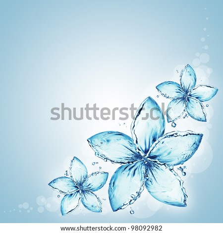 flowers made of water splash - stock photo