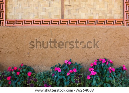 Flowers near the wall - stock photo