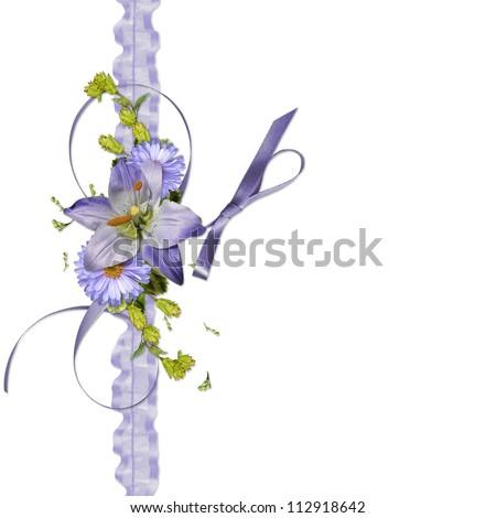 flowers on organza ribbon - stock photo