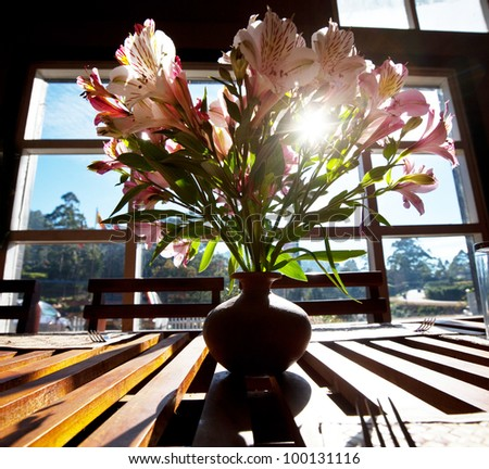 Flowers on table - stock photo