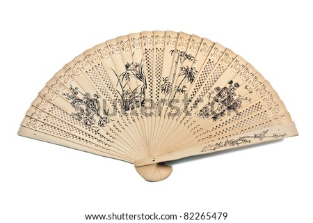 flowers painted on Chinese sandalwood fan