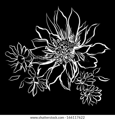 Flowers, painted white outline on the black background. Children's drawing, coloring. Watercolor painting. Ornament in the Russian style. graphic sketch. Holiday card. Kinder Coloring - stock photo