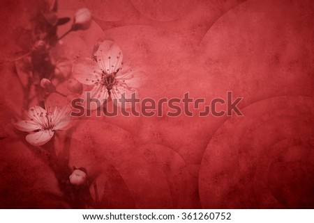 Flowers postalcard with space for message in marsala color