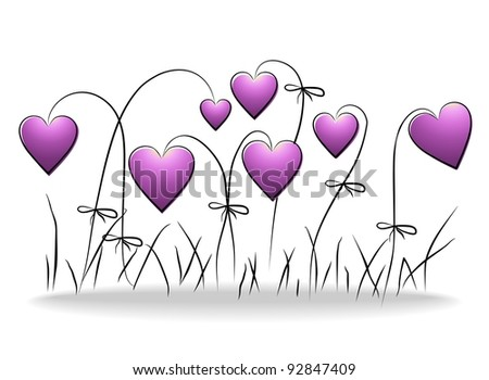 Flowers - romantic floral background with purple hearts - stock photo