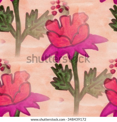 flowers  seamless pink red background snowdrop wallpaper handmade watercolor