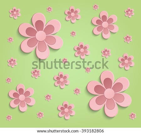 Flowers Spring paper 3D green pink wallpaper raster - stock photo