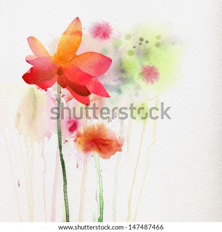 Flowers watercolor background - stock photo