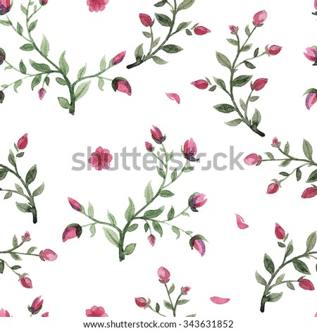 flowers watercolor of floral rose seamless pattern - stock photo