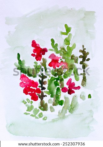 Flowers, watercolor painting for your design - stock photo