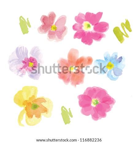 flowers watercolor  pink purple hi res - stock photo