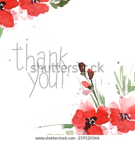 flowers  watercolor thank you card