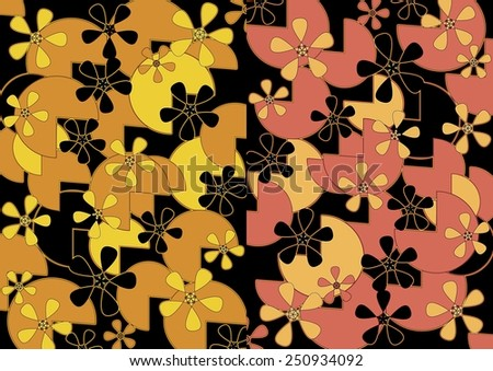 Flowery Unique Modern Vibrant Abstract Design In Two Part Format Format  With Floral And Geometric Textured