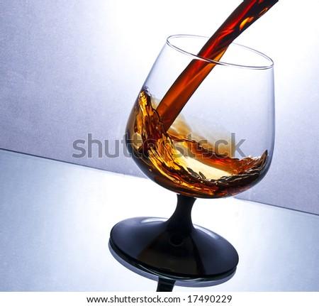 flowing brandy - stock photo