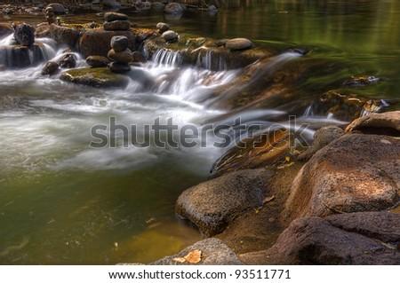 Flowing Creek Water - stock photo
