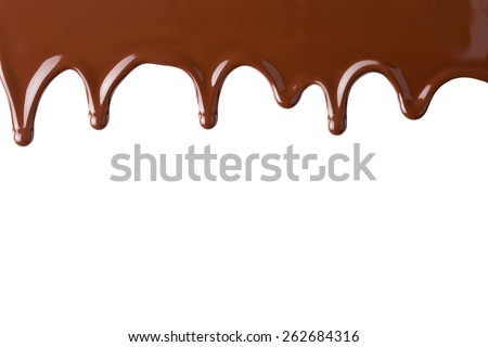 Flowing hot chocolate, isolated on the white background, clipping path included. - stock photo