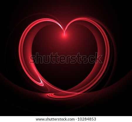 Flowing, illuminated heart shape - fractal abstract background
