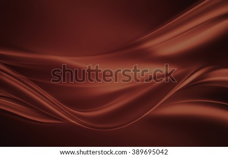 flowing liquid chocolate waves as background - stock photo
