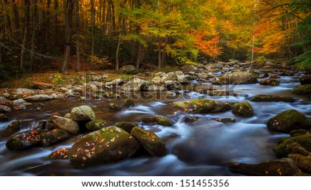 Flowing long exposure stream with autumn colors, the smokey mountains national park - stock photo
