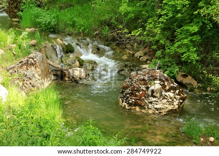 Flowing river with spring greenery, Utah, USA. - stock photo