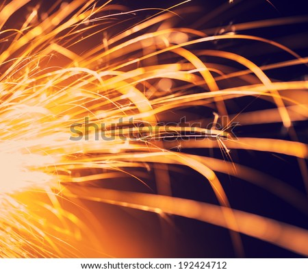 Flowing Sparks,tinted photo, abstract background  - stock photo