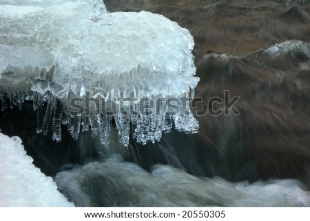Flowing water in a brook is covered by clear ice