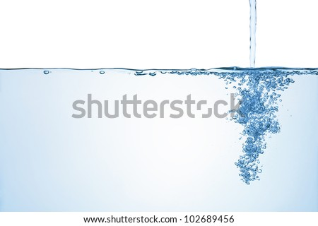 Flowing water with air bubbles, isolated on the white background. - stock photo