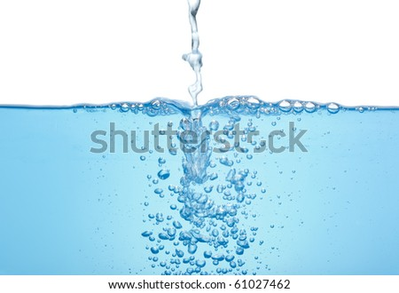 Flowing water with bubbles isolated - stock photo