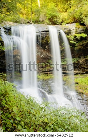 Flowing waters of Dry Falls, North Carolina - stock photo