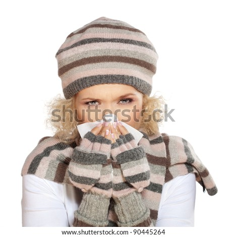 Flu, allergy cold / Beautiful woman having a cold and blowing her nose