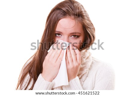 Flu cold or other virus. Sick woman girl with fever sneezing in tissue, suffering from quinsy. Health care.