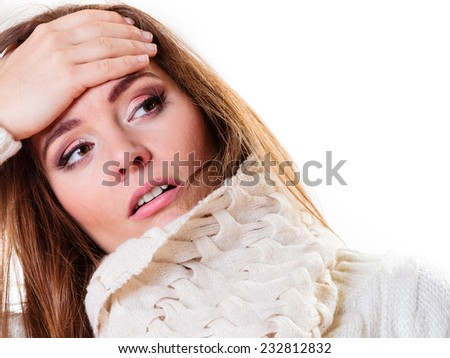 Flu cold or other virus. Sick woman girl with fever, suffering from quinsy. Health care. - stock photo