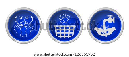 Flu prevention buttons isolated on white background - stock photo
