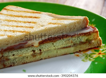 Fluffernutter sandwich made with peanut butter and marshmallow fluff usually served on white bread