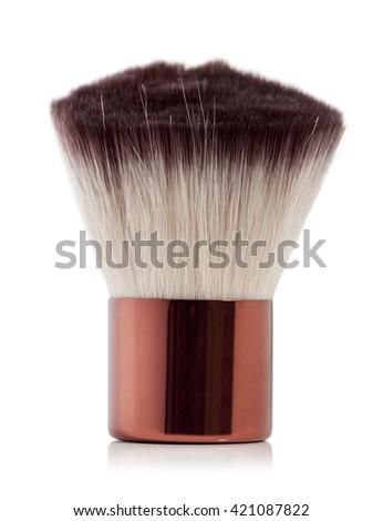 fluffy brush to apply blush on a white background - stock photo