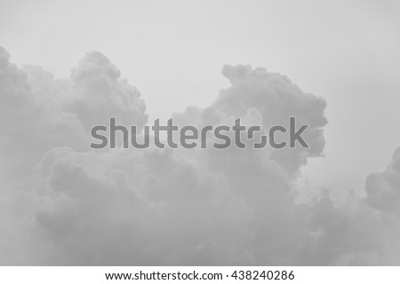 fluffy clouds in different shape (black and white picture)