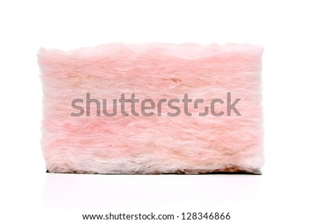 Fluffy pink insulation with facing on white - stock photo