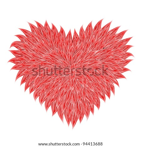 Fluffy Red Heart  on white background. Vector illustration - stock photo