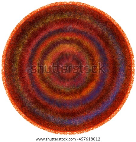 Fluffy round weave carpet with grunge striped circular wavy colorful pattern isolated on white - stock photo