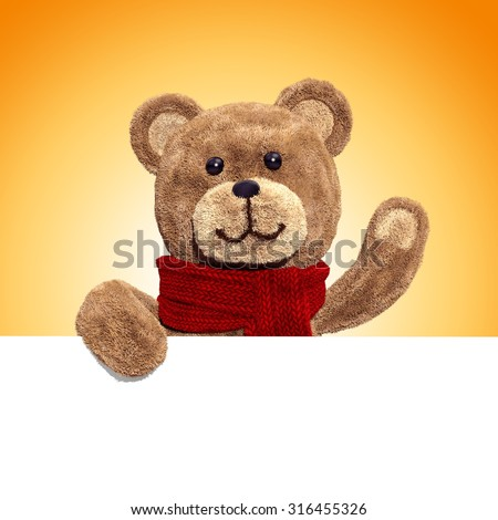 fluffy teddy bear toy holding blank holiday banner, waving hand, 3d illustration - stock photo