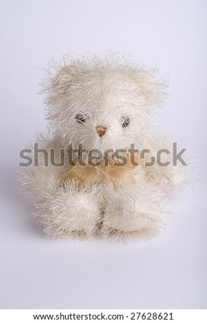 Fluffy teddy bear toy on white background - stock photo