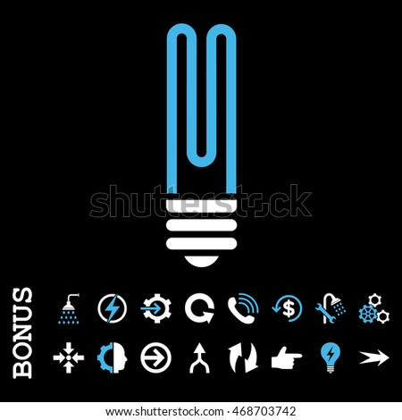 Fluorescent Bulb glyph bicolor icon. Image style is a flat iconic symbol, blue and white colors, black background.