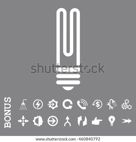 Fluorescent Bulb glyph icon. Image style is a flat pictogram symbol, white color, gray background.