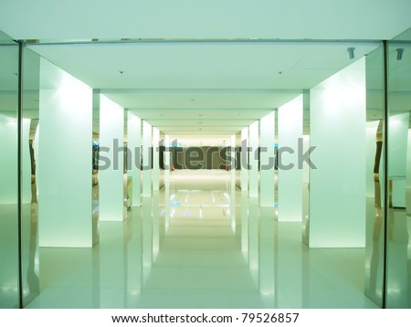 fluorescent corridor - stock photo