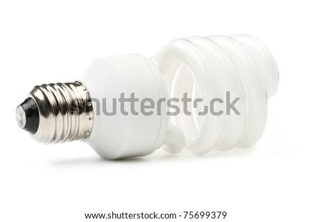 Fluorescent lamp isolated on white background - stock photo
