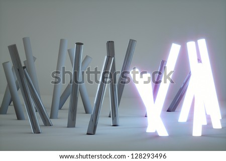 Fluorescent light, abstract glow on the gray concrete background - stock photo