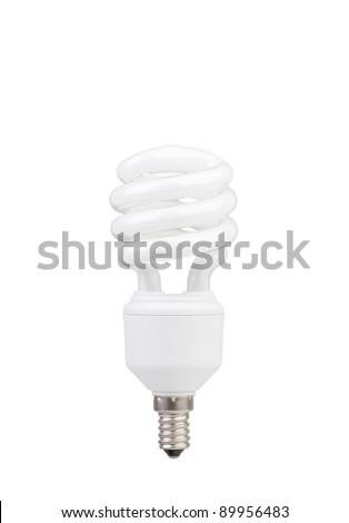 Fluorescent Light Bulb isolated - stock photo