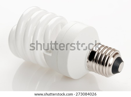 Fluorescent light bulb isolated on white background. - stock photo
