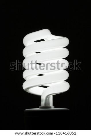 Fluorescent Light Bulb on Black Background - stock photo