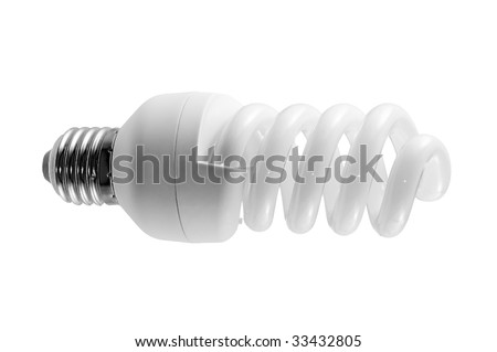 Fluorescent light bulb on white (with clipping path) - stock photo